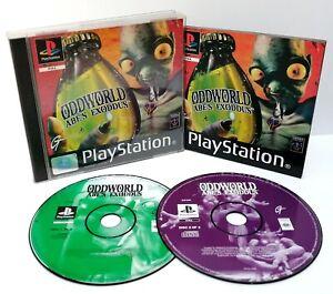 Oddworld-Abes-Exoddus-Sony-ps1-Black-Label-Disk-ausgezeichnete-Fall-beschaedigt