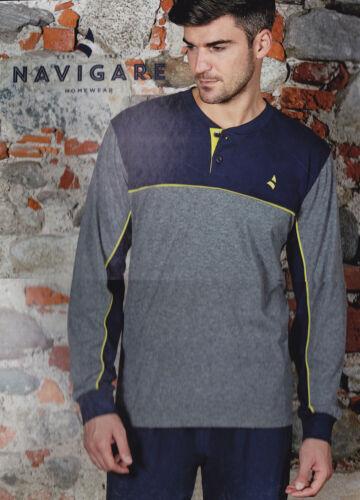 Pigiama uomo in jersey cotone leggero scollo serafino vari modelli NAVIGARE