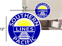 """12"""" SOUTHERN PACIFIC RAILROAD LOGO DECAL TRAIN STICKER WALL OR WINDOW"""