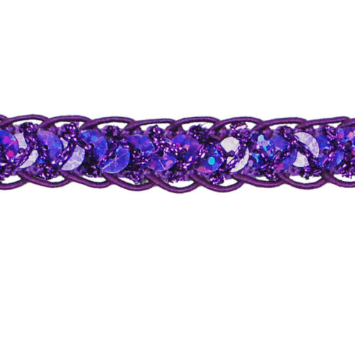 E4570 ~ HOLOGRAM PURPLE BRAIDED CORD SEQUIN TRIM SEWING CRAFTS