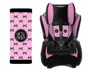 MONOGRAMMED BABY TODDLER CAR SEAT STRAP COVERS PINK BLACK BOWS