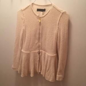 ZARA Cream Ivory Peplum Sweater Jacket With Gold Zip Detail Sz M ... b72eace23