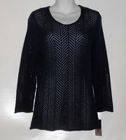 Alia Ladies Long Sleeve Lacy Chevron Knit Pullover Sweater Navy Small (s)