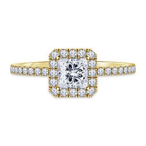 1.00 Ct Princess Solitaire Moissanite Wedding Ring 14K Solid Yellow Gold Size 4