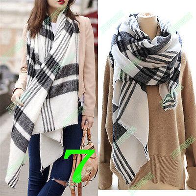 Women Blanket Oversized Tartan Scarf Wrap Shawl Plaid Cozy Checked Pashmina NEW