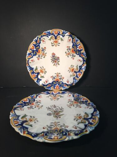 Pair Plates Earthenware Desvres Antique Of Bouquet Quick Shipment Worldwide