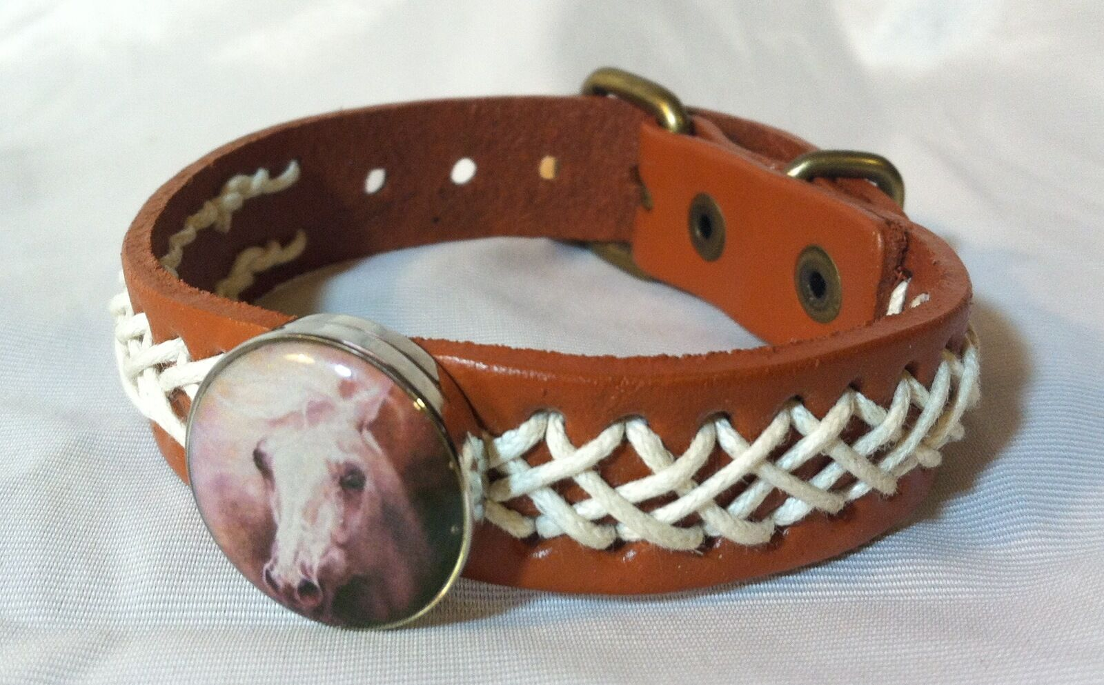 HORSE SNAP & LEATHER Twine Stitched BRACELET 18-20MM WILD HORSE HEAD  BUBBLES