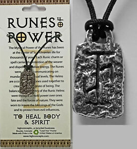 AMULET-RUNE-OF-POWER-034-HEAL-BODY-MIND-SPIRIT-034-NORSE-VIKING-WICCA-Pendant-Necklac