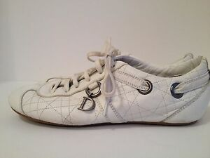 Womens Christian Dior White Quilted Leather Sneakers EU Size 40 US ...