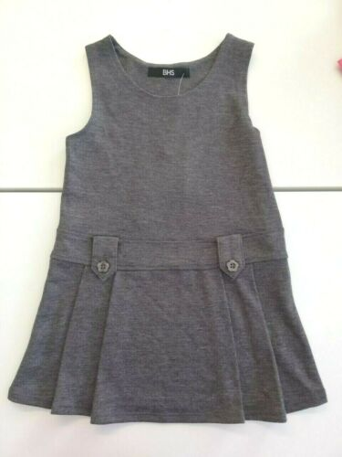 Girl Grey BHS School Pinafore Dress Age 3 4 5 6 7 9 10 12 Jersey No Zips Pull On
