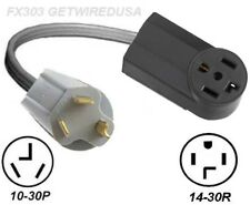 3-PIN MALE 10-30P PLUG to 4-PIN FEMALE 14-30R RECEPTACLE 250V NEMA DRYER ADAPTER