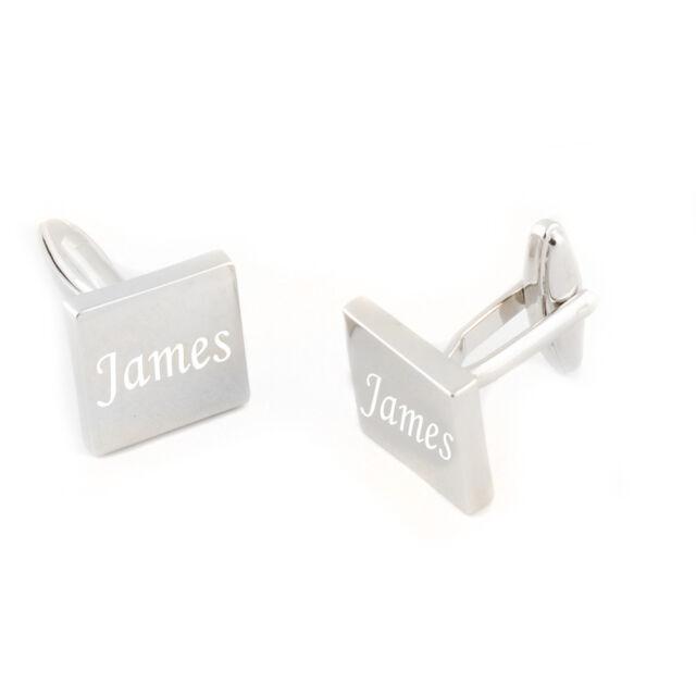 2pcs Personalized Engraved Cufflinks Silver Square Men Shirt Wedding