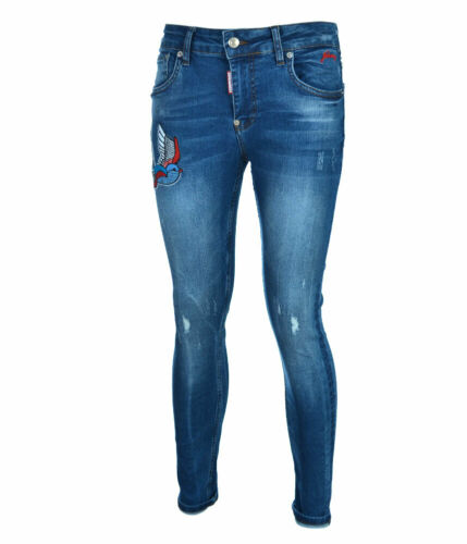 BNWT Dsquared2 Women/'s Jeans with embroidery,Slim Fit Stretch Denim