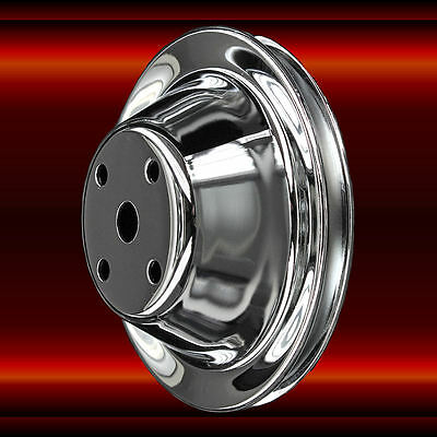 Chrome Aluminum Small Block Chevy Long water pump LWP Pulley Single Groove 350