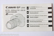 Canon EF75-300 Lens Manual Instruction Book Guide - English Ja Fr De Es USED B78