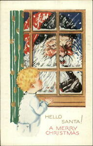 Christmas-Santa-Claus-at-Window-Cute-Little-Boy-c1910-Embossed-Postcard