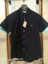 Peter Werth Short Sleeved Shirt Navy Size Small BNWT