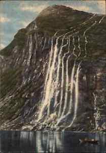 NORWEGEN-Norge-Norway-1940-50-Fjord-Sostre-GEIRANGER-Wasserfall-Waterfall-Falls