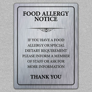 Metal food allergy safety notice brushed aluminium a5 size for Plaque metal cuisine