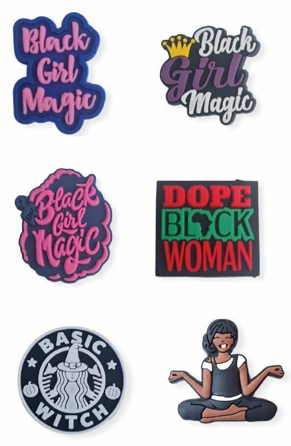 BLM black girl magic Shoe charms 6 Pcs set shoe charm shoe clip L16
