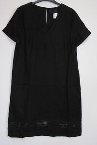 New-Next-Black-Linen-Blend-Summer-T-Shirt-Dress-Size-6-20