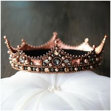Imperial Medieval Wedding Tiara Gold Full Crown Rhinestone Bridal Party Costume