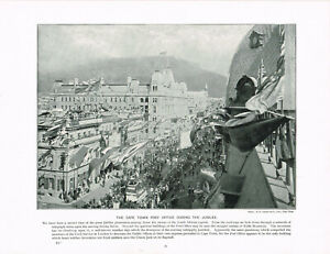 Cape-Town-Post-Office-Victoria-039-s-Jubilee-Antique-Print-Old-Picture-1899-TQET-33