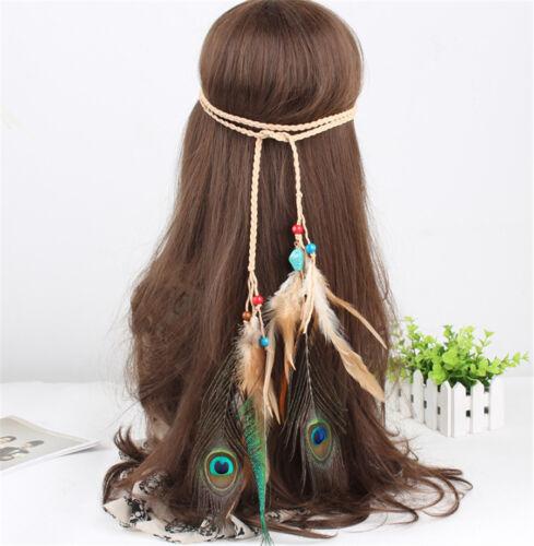 Indian Gypsy Pfauenfeder Troddel Feder Stirnbänder Kopfschmuck Party Haarband