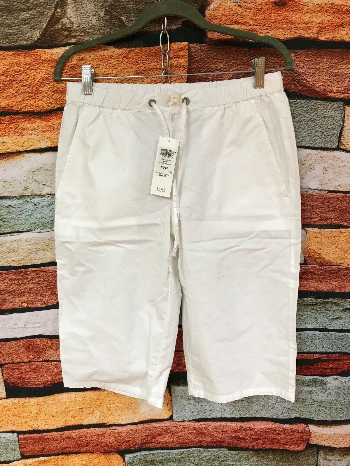 148 NWT EILEEN FISHER WHITE COTTON STRETCH POPLIN DRAWSTRING SHORTS PANTS XS