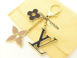 Louis Vuitton Authentic Metal FLEUR DE MONOGRAM Bag Charm Key Chain Auth LV