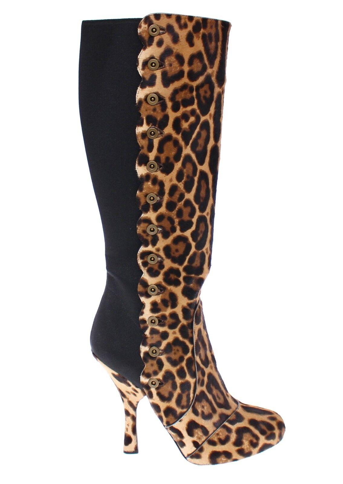 NWT 2600 DOLCE & GABBANA Braun Leopard Leopard Leopard Fur Leder Heel Logo Stiefel EU40 / US9.5 6b1394