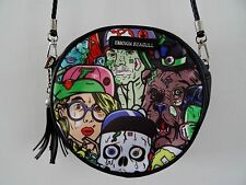 B-Movie horror Bolso Redonda Negra-Cráneo Zombie Monster Cómic Bolso sin asas