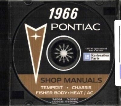 Catalina GTO Tempest /& Le Mans Shop /& Body Manual CD PONTIAC 1966 Bonneville