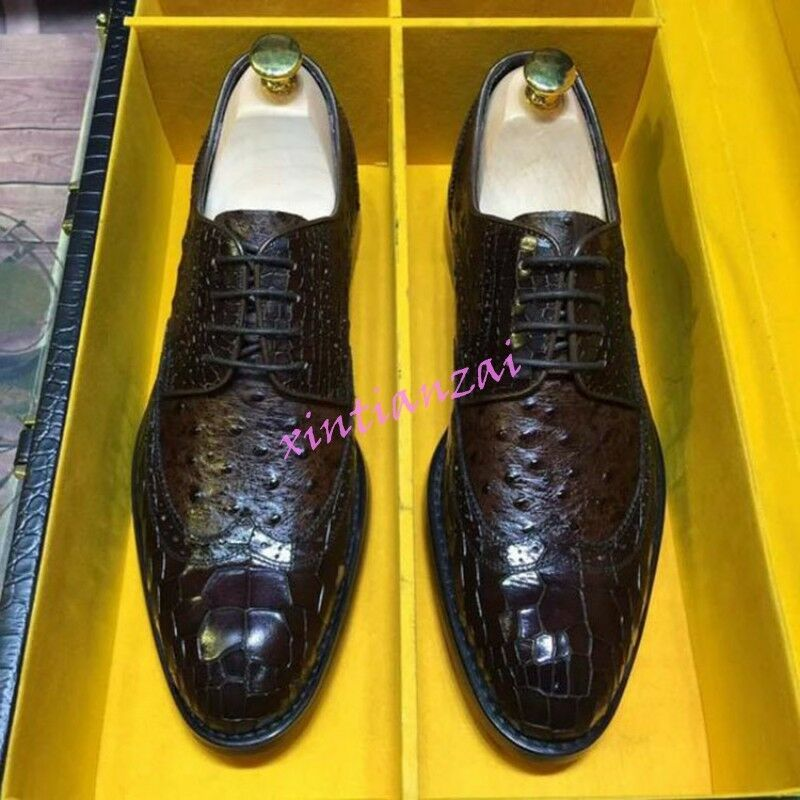 Mens Carved Real Leather Crocodile Pattern Formal Dress Oxfords Business Shoes