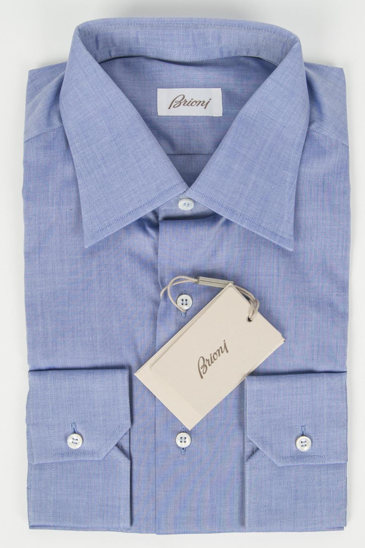 Brioni Nuova con Etichetta Blu Aperto Colletto 100% Cotton Camicia 15 3 4 40 It