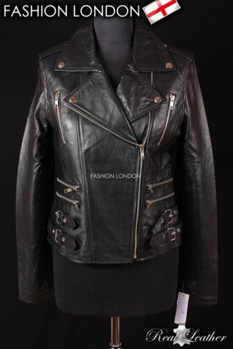 MAXIM Black Ladies Biker Style Rock Motorcycle Designer Lambskin Leather Jacket