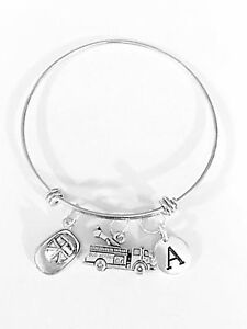 Firefighter-Bangle-Charm-Bracelet-Fire-Truck-Hat-Wife-Initial-Gift-Expandable
