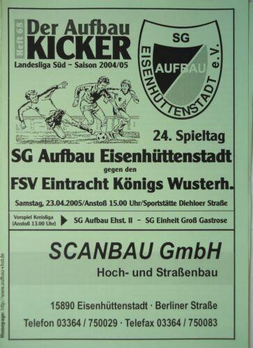 Programm 2004//05 Aufbau Eisenhüttenstadt Eintracht Königs Wusterhausen