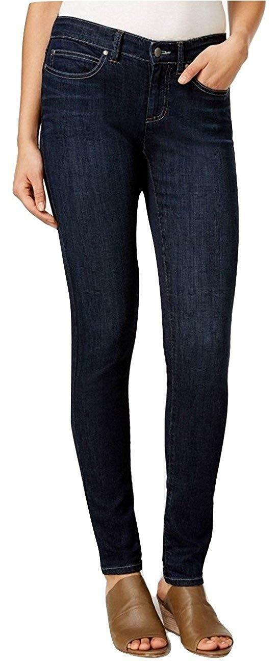 EILEEN FISHER Indigo Navy bluee Whisker Creased Organic Cotton Skinny Jeans 16 US