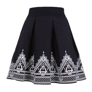 Restyle-Henna-Moon-amp-Occult-Symbol-Black-Elegent-Pleated-Gothic-Witch-Skirt