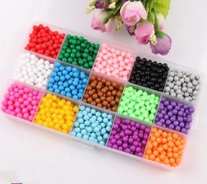 15 Farben Aquabeads Glitzer Set Basteln Kinder Bastelset Glitzerperlen Perlen