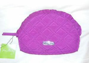 NWT Vera Bradley MICROFIBER RUFFLE COSMETIC in PLUM Travel Cosmetic ... 067730fc5bb0f