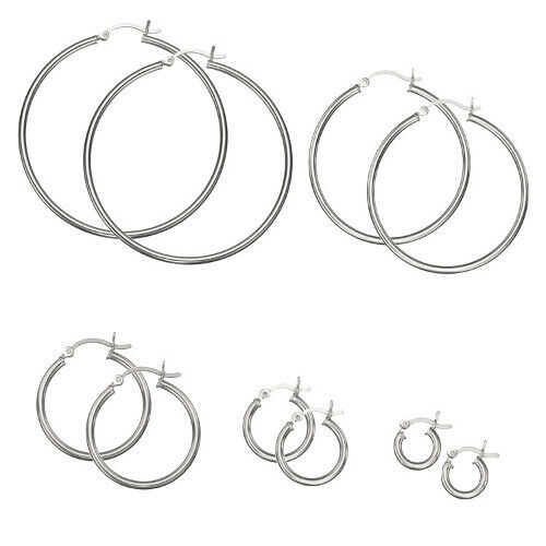 CHOOSE A SIZE .925 Sterling Silver Plain 2mm Thin Polished Round Hoop Earrings