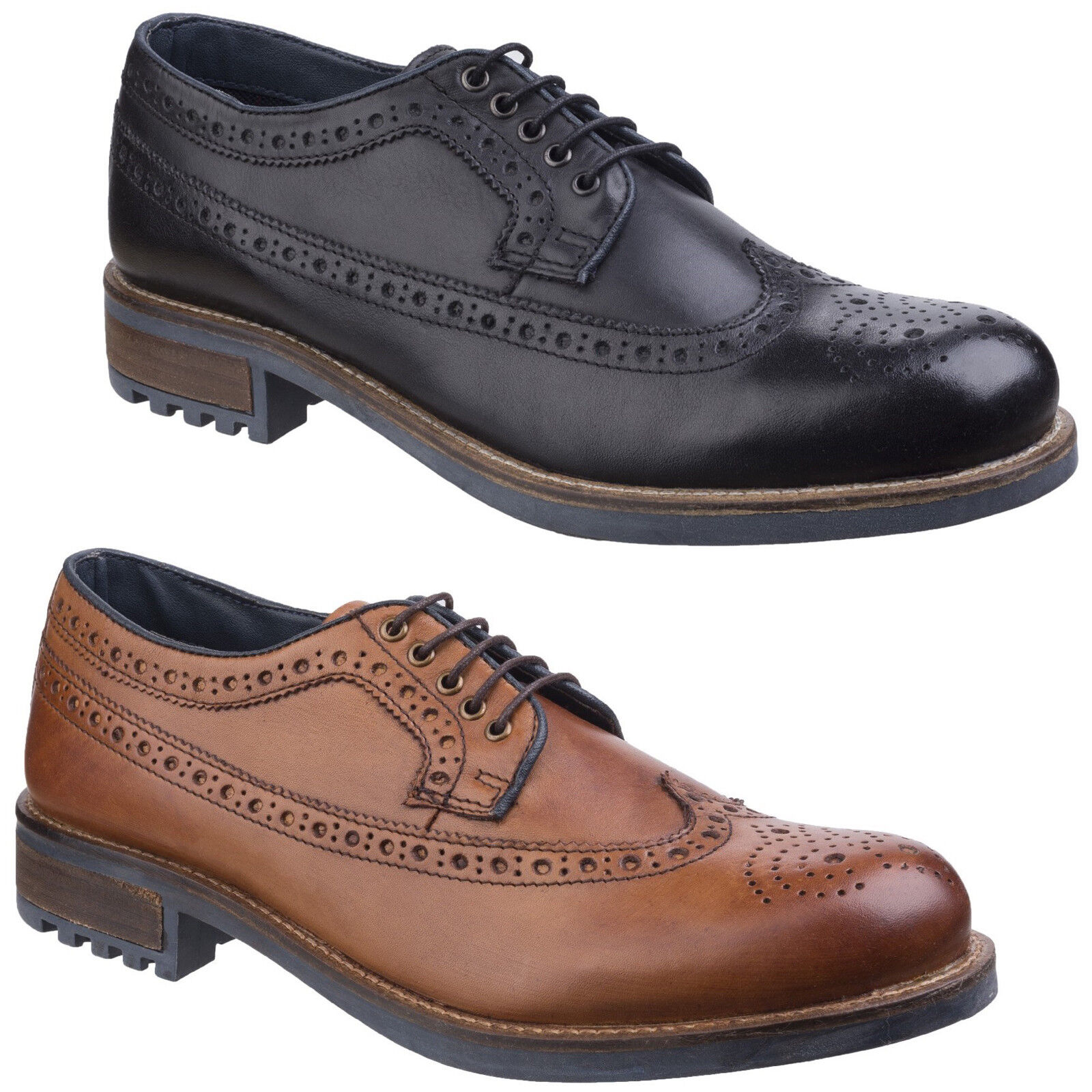 Cotswold Poplar Brogue Leder  Uomo Dress Schuhe Leder Brogue Lace Up Formal WIng Tip Footwear a4da3b