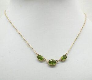 Precioso-9ct-Oro-y-Collar-de-Turmalina-Verde-Peridoto