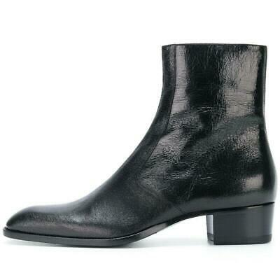 Mens Real Leather Cuban Heel Chelsea Ankle Boots Pointy Toe Dress Side Zip Shoes