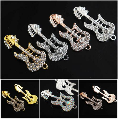 2pcs 45x18mm Curved Guitar Crystal Connectors Pendants for Jewelry Making DIY