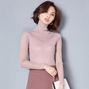 Donna-Base-camicia-velato-a-rete-maglia-pizzo-manica-lunga-slim-collo-alto