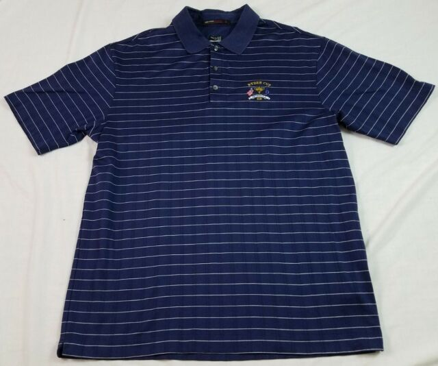 f8247cc1 TIGER WOODS Mens Polo Shirt Navy Blue RYDER CUP VALHALLA M Medium FitDry S\S