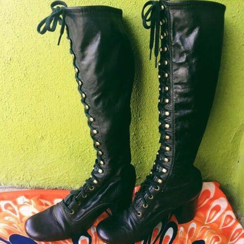 RARE VTG 1960s Black Mod Go Go Lace Up Boots 6 Per